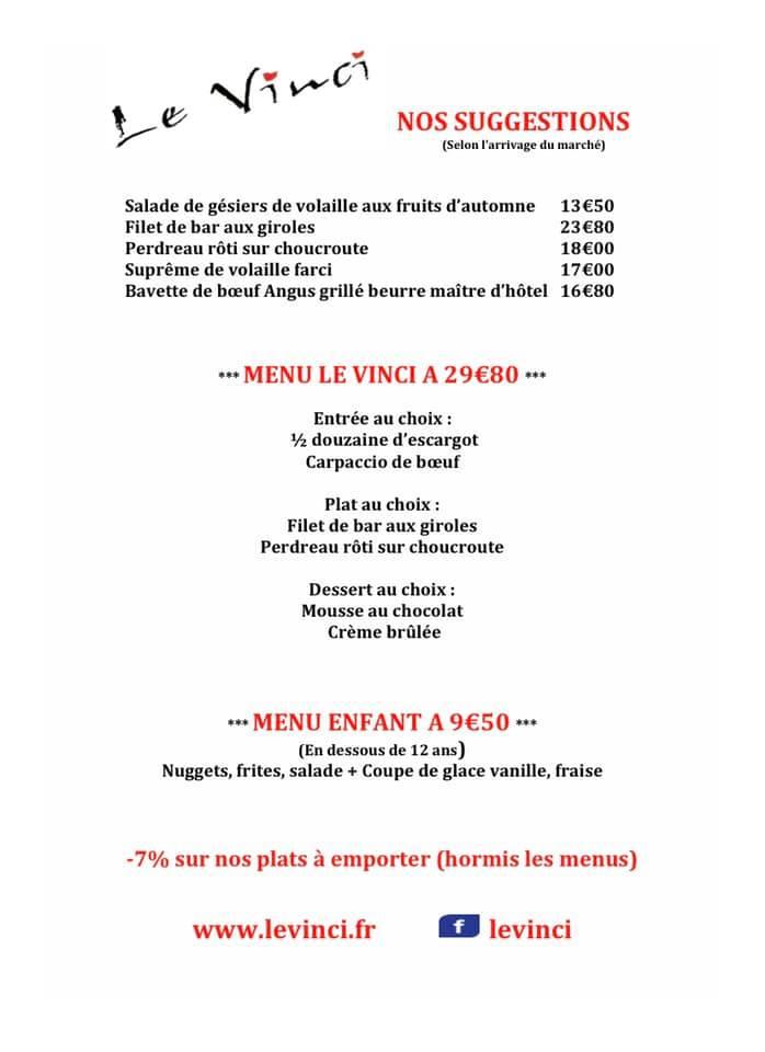 La carte de suggestions de menus et boissons de Restaurant Le Vinci 68 Sausheim près de Mulhouse