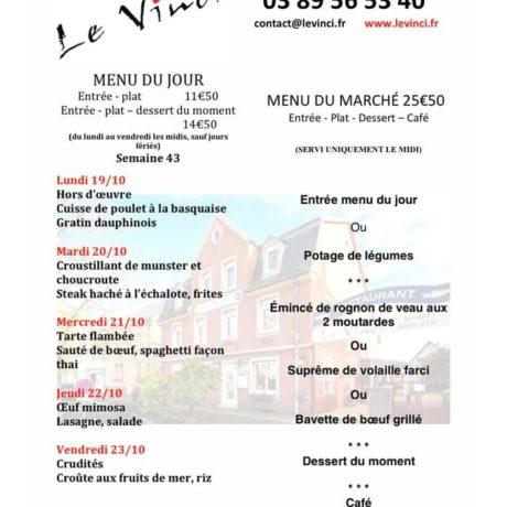 Exemple de menu du jour Restaurant Le Vinci Octobre 2020