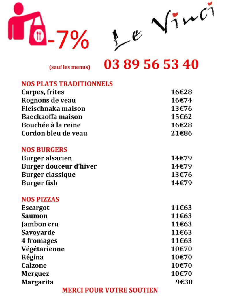 Exemple de menu du jour à emporter Restaurant Le Vinci Octobre 2020
