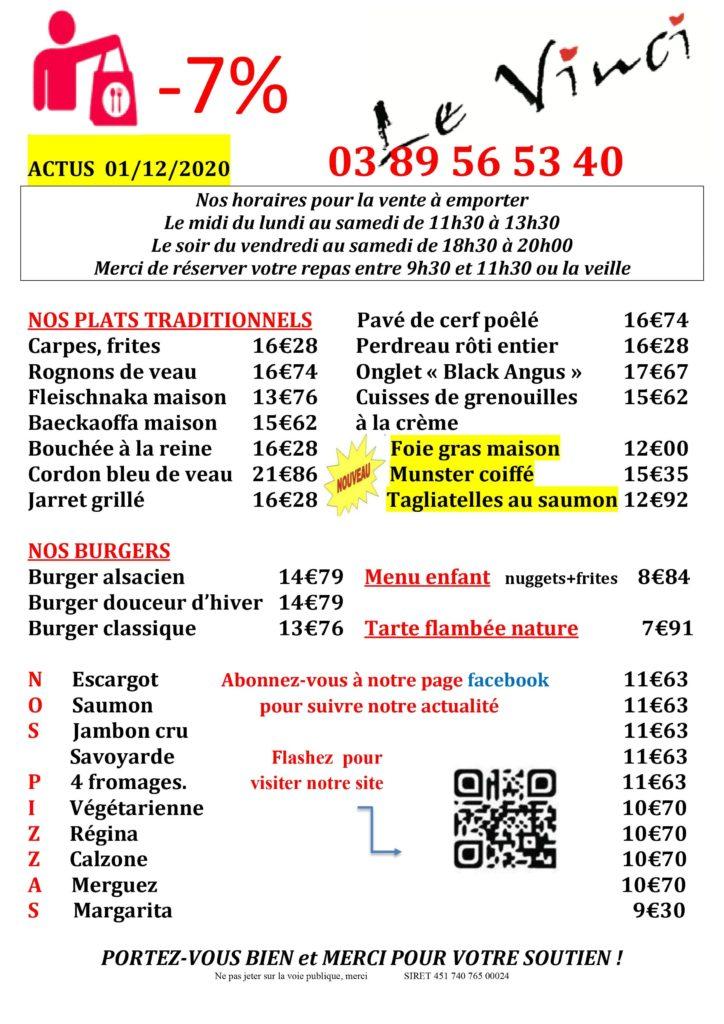 Le Vinci 68 Sausheim -11-2020 Menus à emporter