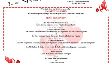 Menu St Valentin à réserver avant jeudi 11/04