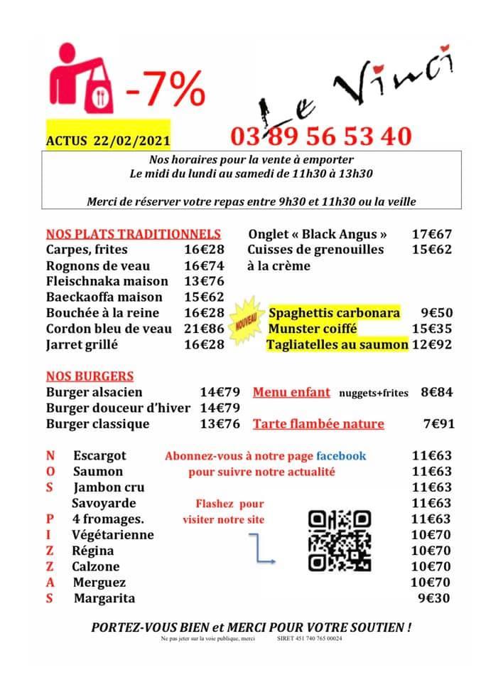 Restaurant le Vinci à 68 Sausheim : Plats du jour à emporter du 15 au 19 03 2021