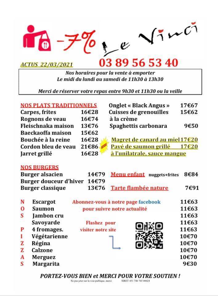 Voici nos plats du jour semaine 12 et notre carte à emporter Actus 22/03/21 attention aux nouveaux plats Bon week-end à vous tous !