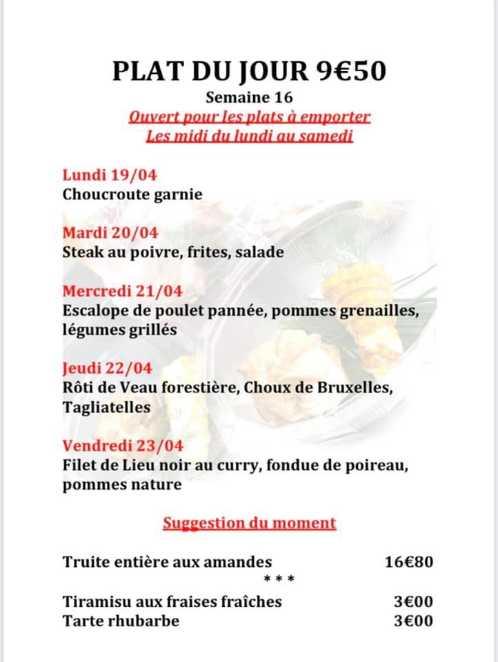 Plats du jour et carte à emporter semaine 16. Restaurant Le Vinci 68 Sausheim 18 04 2021