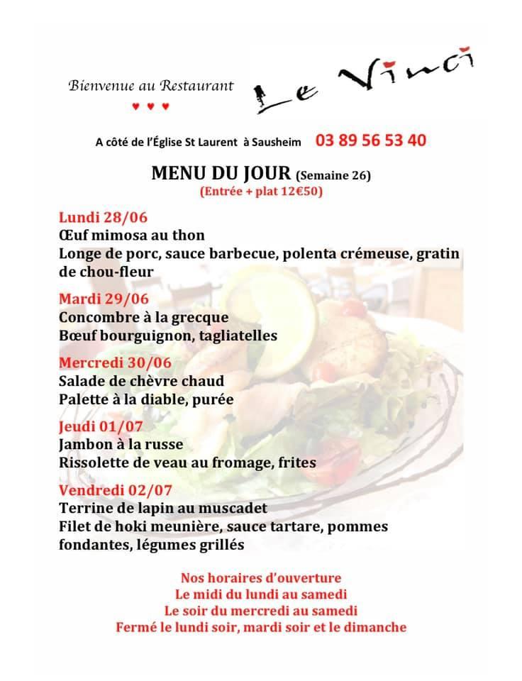 Menus du jour et carte semaine 26 Restaurant Le Vinci 68 Sausheim