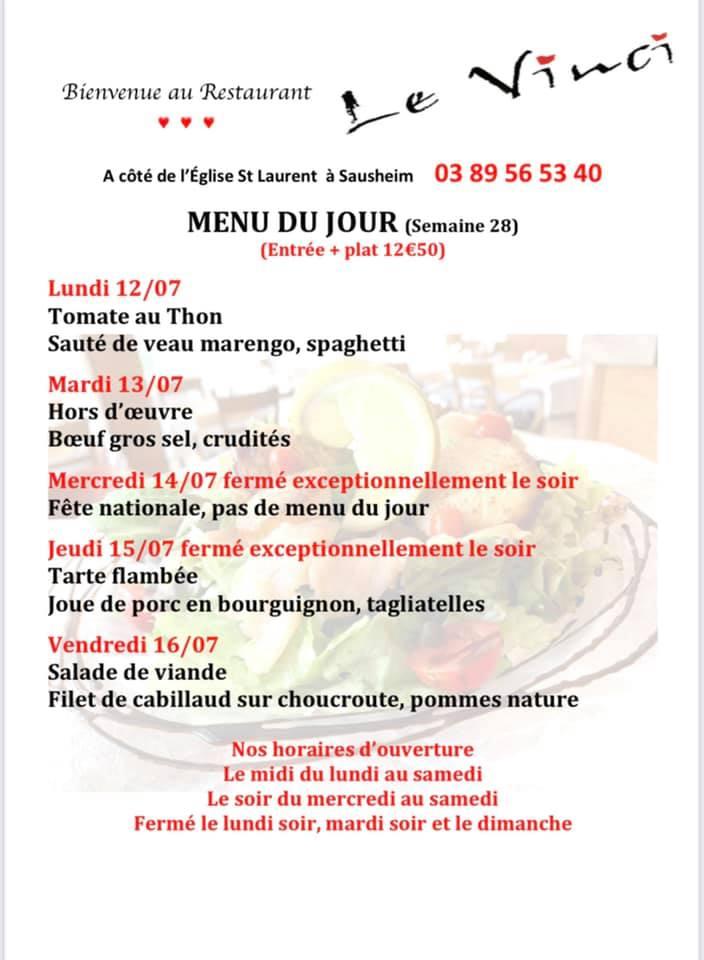 Menus du jour et carte semaine 28 Restaurant Le Vinci 68 Sausheim