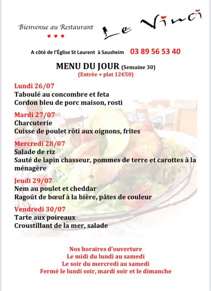 Menus du jour et carte semaine 30 - Restaurant Le Vinci à 68 Sausheim