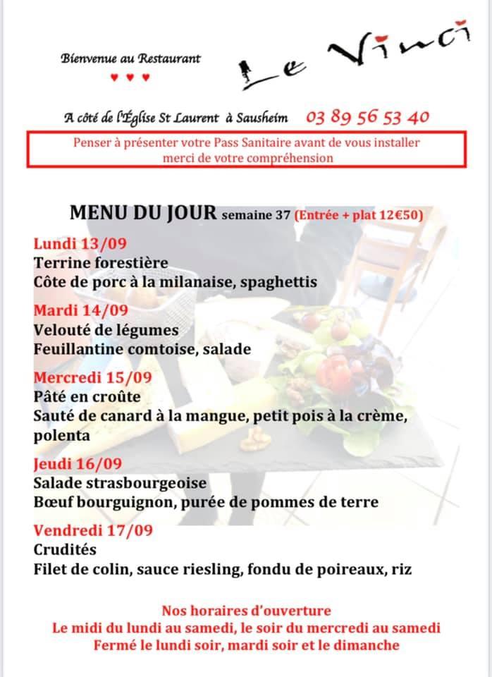 voici nos menus du jour pour la semaine.
